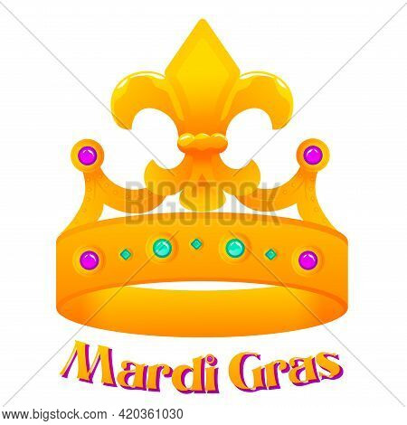 Isolated Flag Crown Mardi Grass Venice Festival Icon- Vector