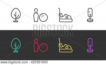 Set Line Tree, Bowling Pin And Ball, Bumper Car And On Black And White. Vector