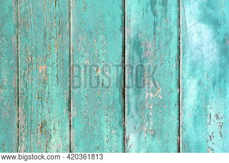 Wooden Planks Background With Teal Blue Colored Old Weathered Planks With Chipped Paint
