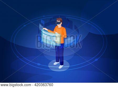 Virtual Reality Isometric Vector Illustration. Vr Interface And Navigation. Futuristic Digital Techn