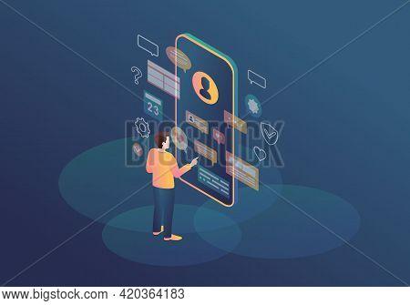 Messenger Isometric Color Vector Illustration. Virtual Ui. Person Using Smartphone. Online Communica