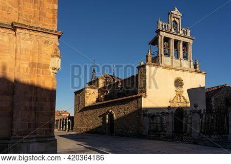 Astorga, Spain - January 04, 2021: Santa Marta Church Of Astorga In The Way Of Santiago At Sunset, L