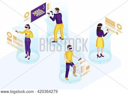 Vr Technology Isometric Vector Illustration. Futuristic Ui. Virtual Interface And Navigation. Vr, Ar