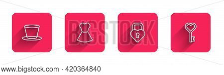 Set Line Cylinder Hat, Woman Dress, Castle The Shape Of Heart And Key With Long Shadow. Red Square B