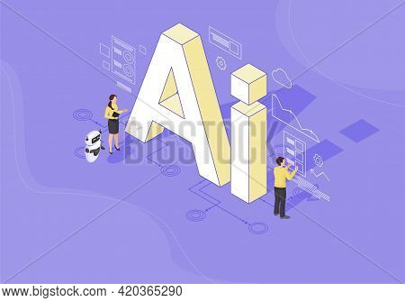 Ai Isometric Color Vector Illustration. Artificial Intelligence Infographic. Client Use Chat Bot. We