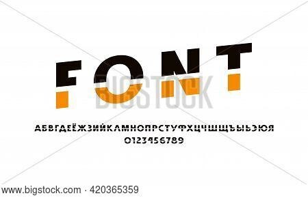Cyrillic Cross Out Sans Serif Font. Letters And Numbers For Logo And Emblem Design. Color Print On W