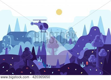 Helicopter Flies At Night And Search For A Criminal Or A Lost Tourist - Vector Cartoon Panorama Illu