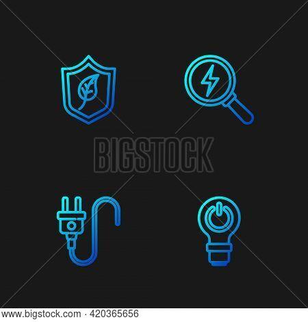 Set Line Light Bulb With Lightning, Electric Plug, Shield Leaf And Lightning Bolt. Gradient Color Ic