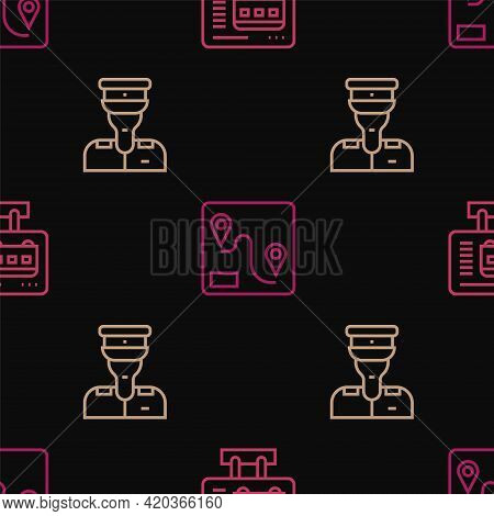 Set Line Ticket Office To Buy Tickets, Train Conductor And Route Location On Seamless Pattern. Vecto