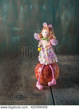 Fabulous Postcard. Apple Fairy Sitting On An Apple