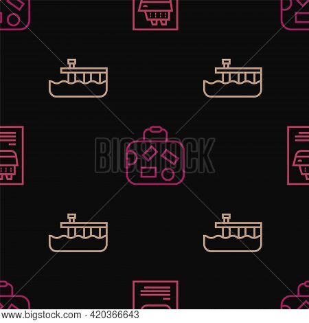 Set Line Cruise Ship, Beach Pier Dock And Suitcase On Seamless Pattern. Vector
