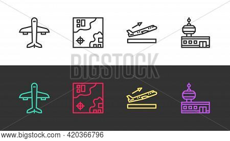 Set Line Plane, World Travel Map, Takeoff And Airport Control Tower On Black And White. Vector