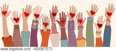 Arms And Hands Raised. Charity Donation And Volunteer Work. Group Of Diverse People With Heart In Ha