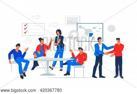 Business People Working At Office, Meeting And Negotiating In Conference Room Around Table. Brainsto