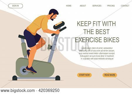 Sporty Man On Exercise Bike. Web Page Design For Sports Activities, Active Lifestyle. Workout At Hom