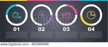 Set Line Roulette Construction, Micrometer, Measuring Instrument And Radius. Business Infographic Te