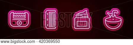 Set Line Electrical Hair Clipper, Hairbrush, Cream Cosmetic Jar And Washbasin. Glowing Neon Icon. Ve