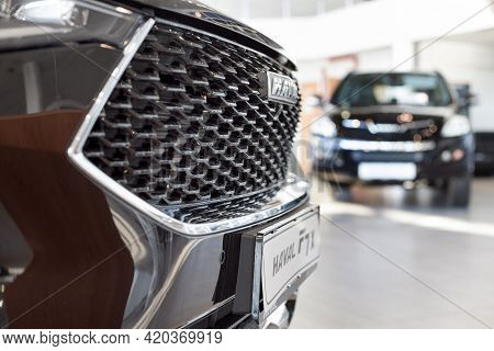 Russia, Izhevsk - February 17, 2021: Haval Showroom. Haval Logo On A Bumper Of New F7x. New Cars At