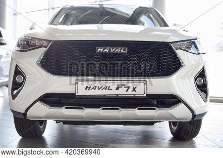 Russia, Izhevsk - February 17, 2021: Haval Showroom. New Modern Haval F7x Car In Dealer Showroom. Fr