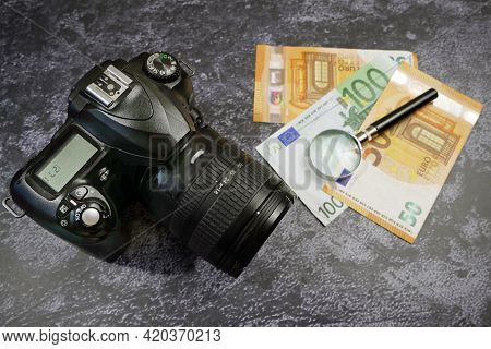 Digital Camera And Money, Store Selling Photographic Equipment, Pawnshop, Closeup