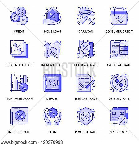 Credit And Loan Web Flat Line Icons Set. Pack Outline Pictogram Of Bank Services, Home Loan, Deposit