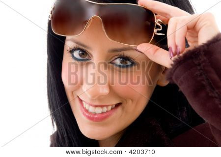 Front View Of Female Face With Sunglasses On White Background