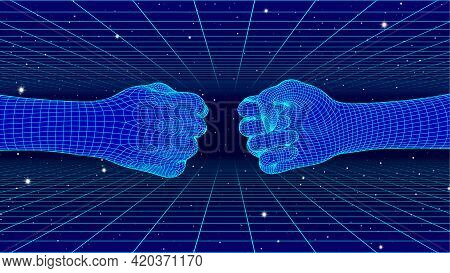 Fist Bump Concept With Cyberpunk Human And Machine Hands In 80s Neon And Grid Style