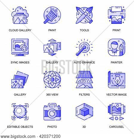 Images Web Flat Line Icons Set. Pack Outline Pictogram Of Designer Tools, Gallery, Editable Objects,