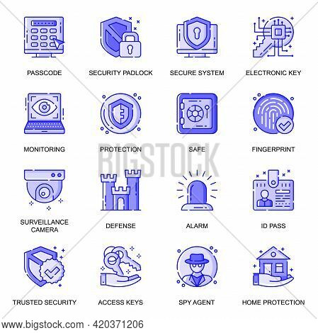 Security Web Flat Line Icons Set. Pack Outline Pictogram Of Secure System, Monitoring, Protection, C