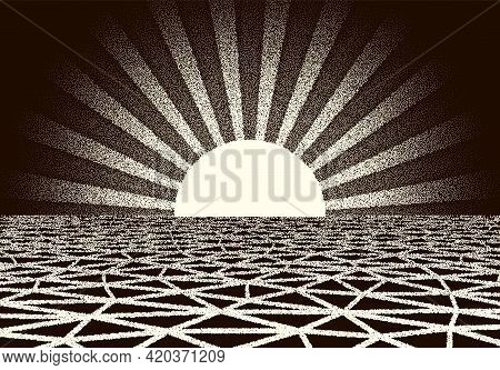 Retro Dotwork Landscape With 80s Styled Sun Rays, Laser Grid And Stars Background From Old Sci-fi Bo