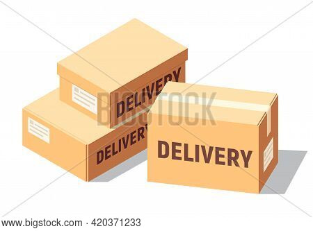 Isometric Cardboard Boxes Set For Delivery And Storage. Isolated Carton Crates Collection With Vario