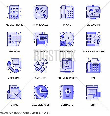 Communication Web Flat Line Icons Set. Pack Outline Pictogram Of Phone Calls, Video Chat, Message, 2