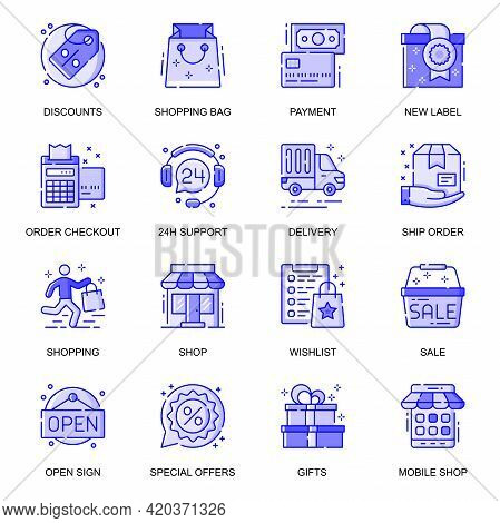 E-commerce Web Flat Line Icons Set. Pack Outline Pictogram Of Shopping, Discount, Payment, New Label