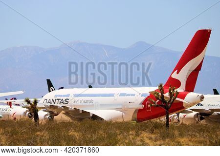 May 12,, 2021 In Victorville, Ca:  Qantas A380 Aircraft Stored On The Tarmac Besides Joshua Trees An