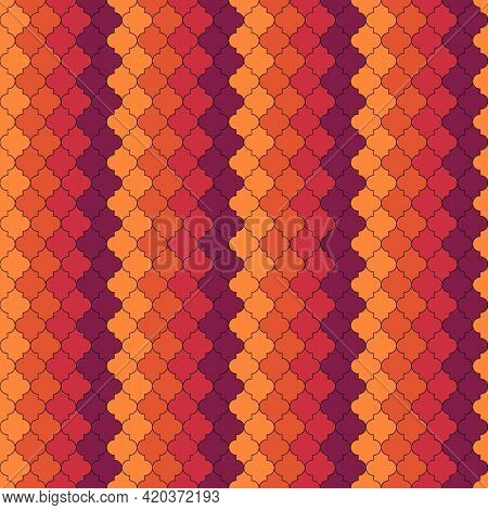 Seamless Pattern. Ogee Tiles Ornament. Oriental Traditional Ornamentation. Repeated Lantern Shapes.