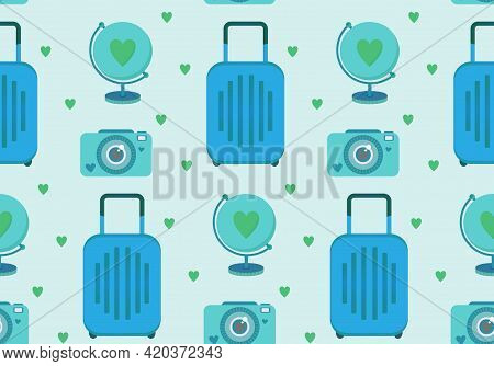 Vector Seamless Pattern With Travel Clip Art Set Of Objects - Luggage Bag, Globe, And Instant Photo