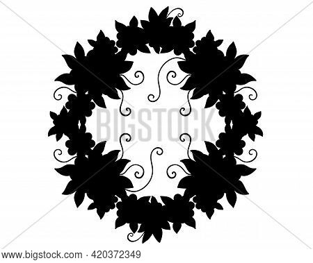 A Wreath Of Flowers And Leaves Is A Black Silhouette For A Logo Or Pictogram. Wreath - Frame, Icon O