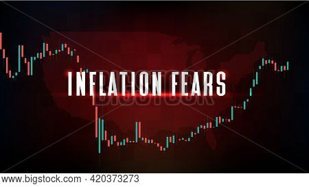 Abstract Background Of Stock Market Inflation Fears And United States Government Bond 10y Graph With