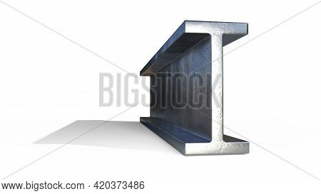 Flange Beam Metal Profile - Isolated Concept Industrial 3d Illustration