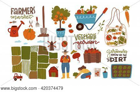 Garden, Farm And Agriculture Big Set. Collection Of Gardener, Garden Beds, Fields, Maps, Houses, Let