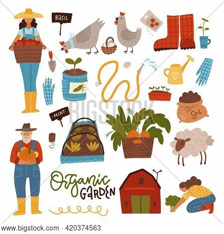 Gardening Scene Creator. Set Of People In Garden With Harvest, Plants, Equipment And Supplies, Woman