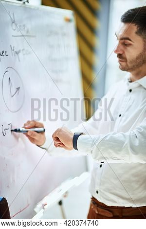 The Company Manager In A White Shirt Writes On A Flipchart And Looks At The Watch On His Hand. Time
