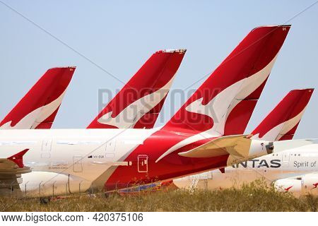 May 12, 2021 In Victorville, Ca:  Temporarily Stored A380 Aircraft Parked In The Victorville, Ca Air