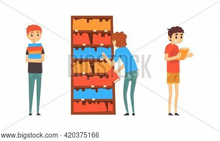 Students Taking And Reading Books In Public Library, People Choosing In Book In Bookstore Cartoon Ve