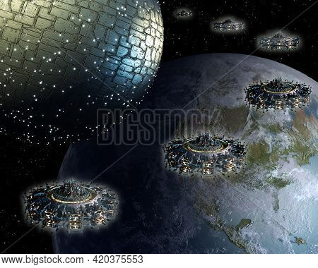 3d Spherical Spaceship And Ufo Fleet Approach Earth For Futuristic Deep Space Travel Or Science Fict