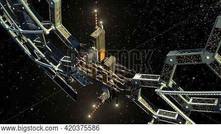 3d Illustration Of A Honeycomb Geodesic Structure In Deep Space Flight, For Science Fiction Video Ga