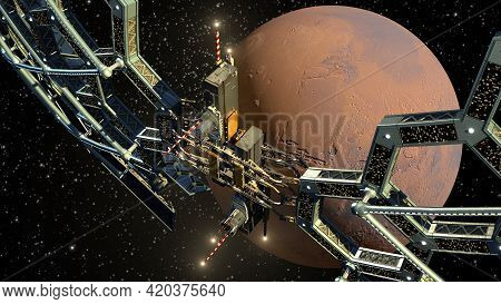 3d Illustration Of A Honeycomb Geodesic Structure Near Mars For Science Fiction Video Games, Space E