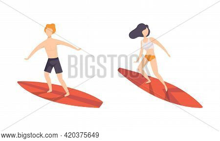 Set Of People Surfing In Sea, Surfers In Beachwear Performing Leisure Outdoor Activities At Beach Wi