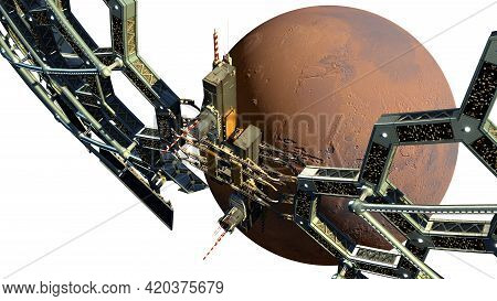 3d Illustration Of A Honeycomb Geodesic Structure Near Mars With The Clipping Path Included In The F