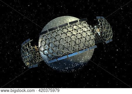 3d Honeycomb Geodesic Structure Surrounding A Spherical Spaceship With Clipping Path Included In The